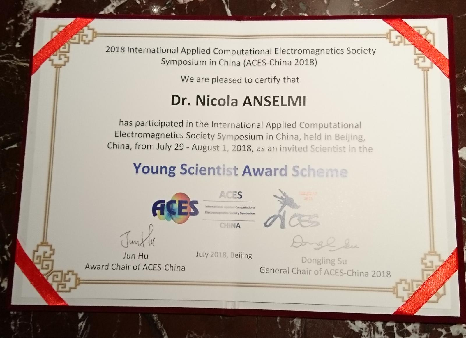 Dr  ANSELMI won the YOUNG SCIENTIST Award @ ACES-2018